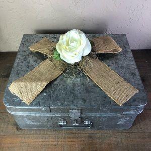 Rustic wedding galvanized card box suitcase